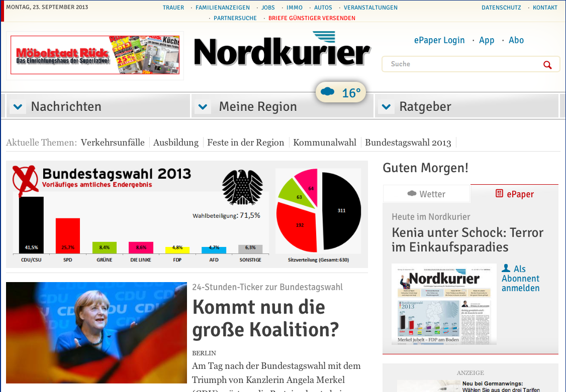 Screenshot von nordkurier.de